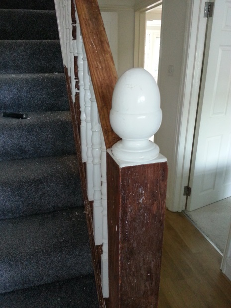 Staircase stripping underway; old acorns