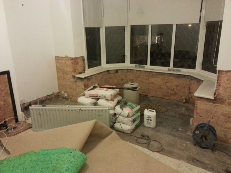 Damp proofing the lounge gets underway