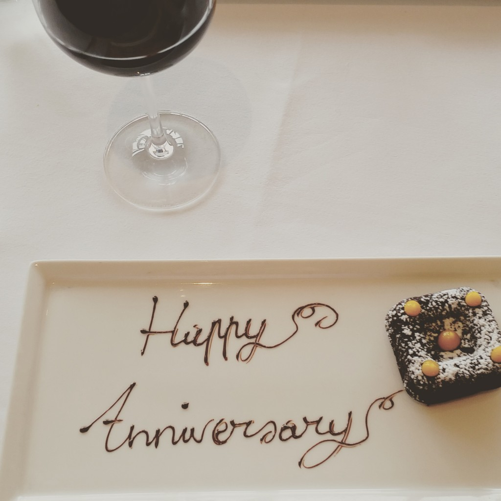 Happy Anniversary treat from the restaurant