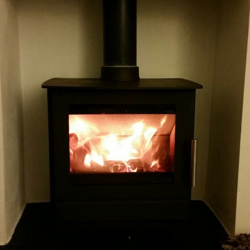 log burner lit
