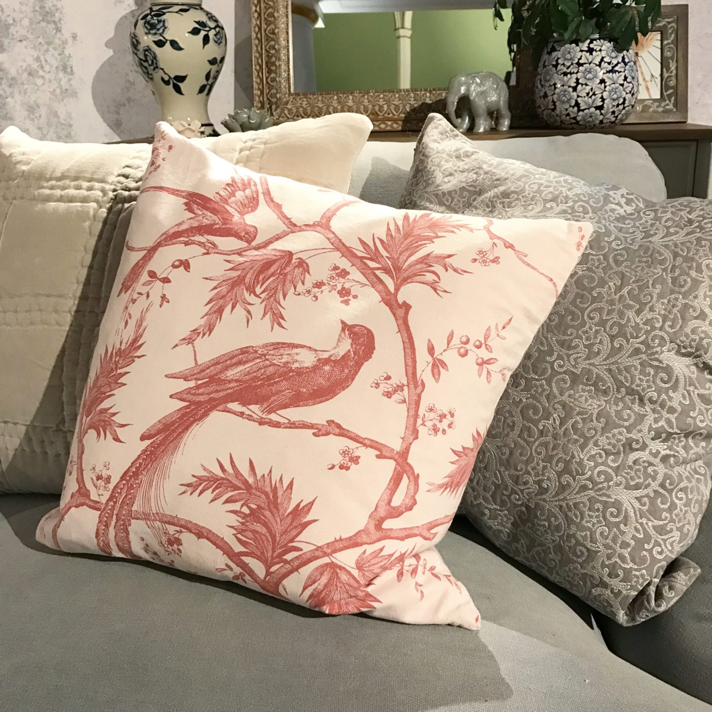 House of Fraser Junipa Deshi bird cushion