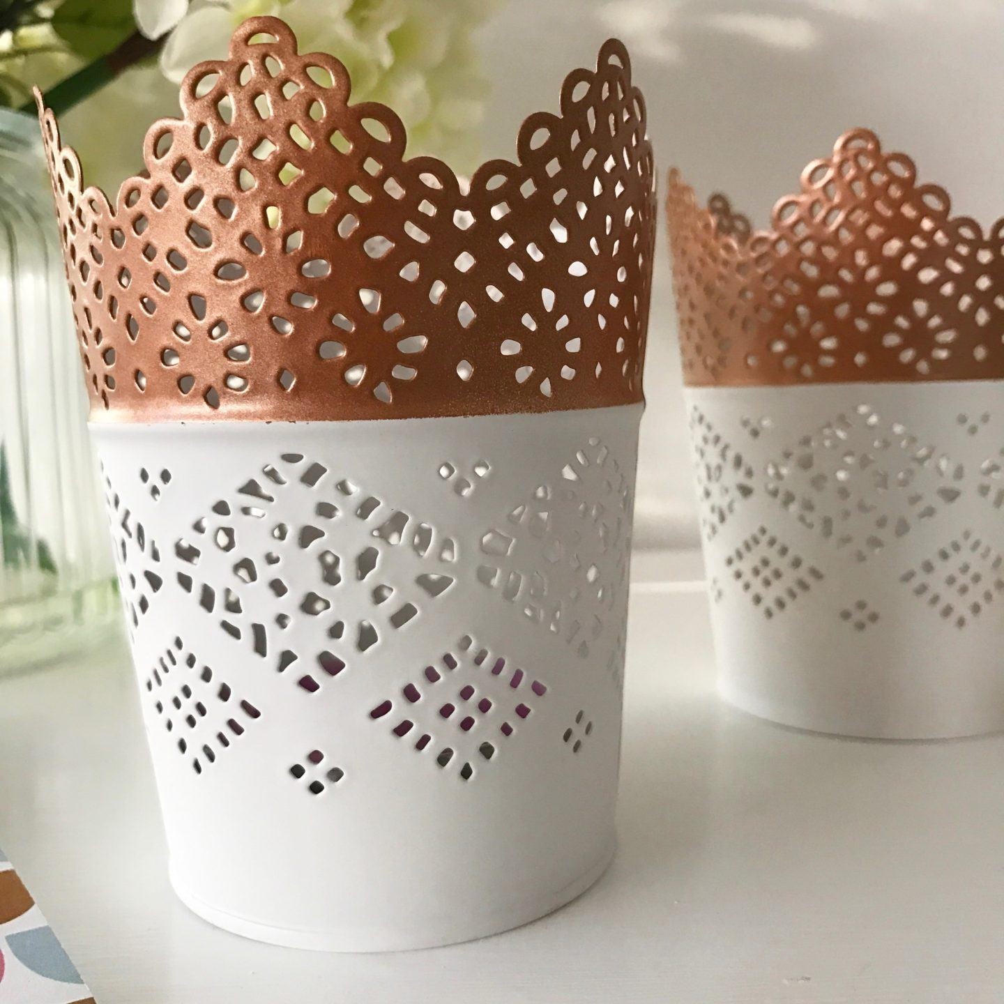 Copper Spray Paint Upcycled Tealight Holders
