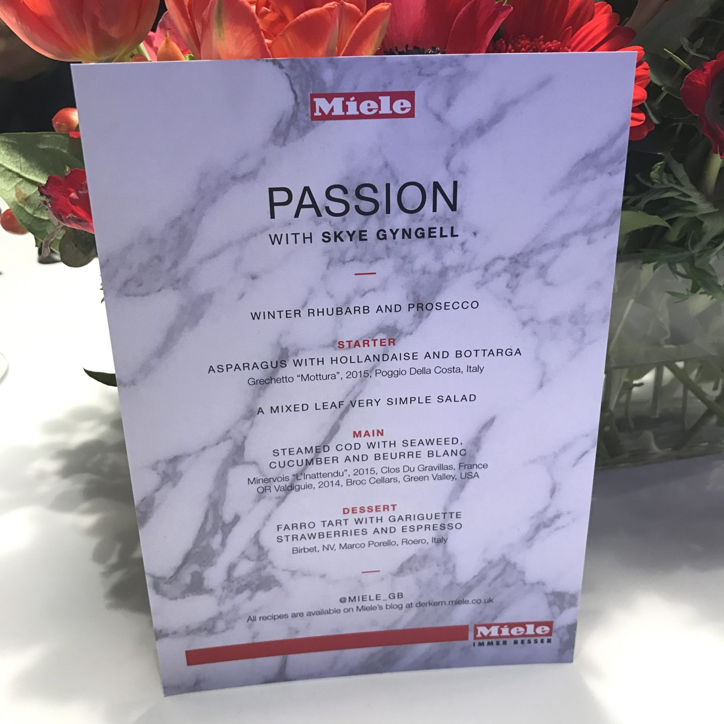 Miele Passion Menu