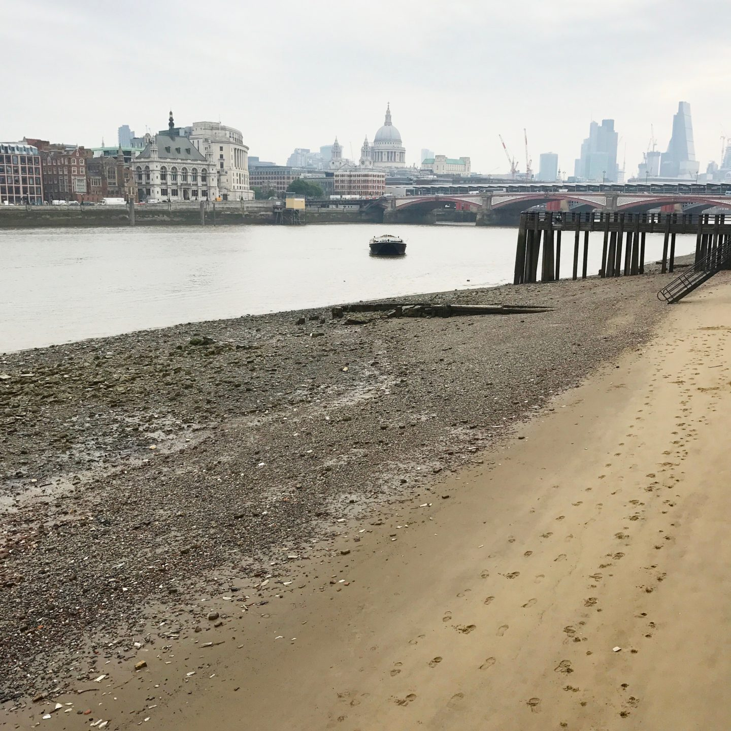 London's South Bank Beach Tide Out