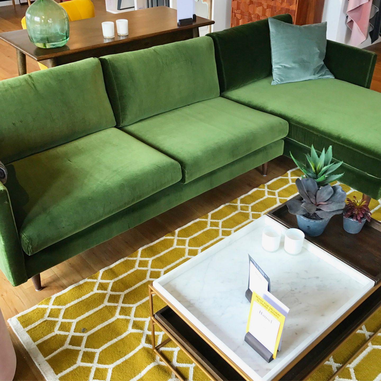 Swoon Editions Velvet Green Sofa