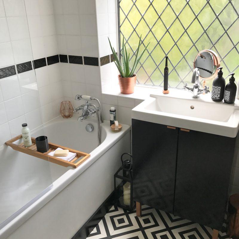monochrome bathroom makeover the reveal boo maddie. Black Bedroom Furniture Sets. Home Design Ideas