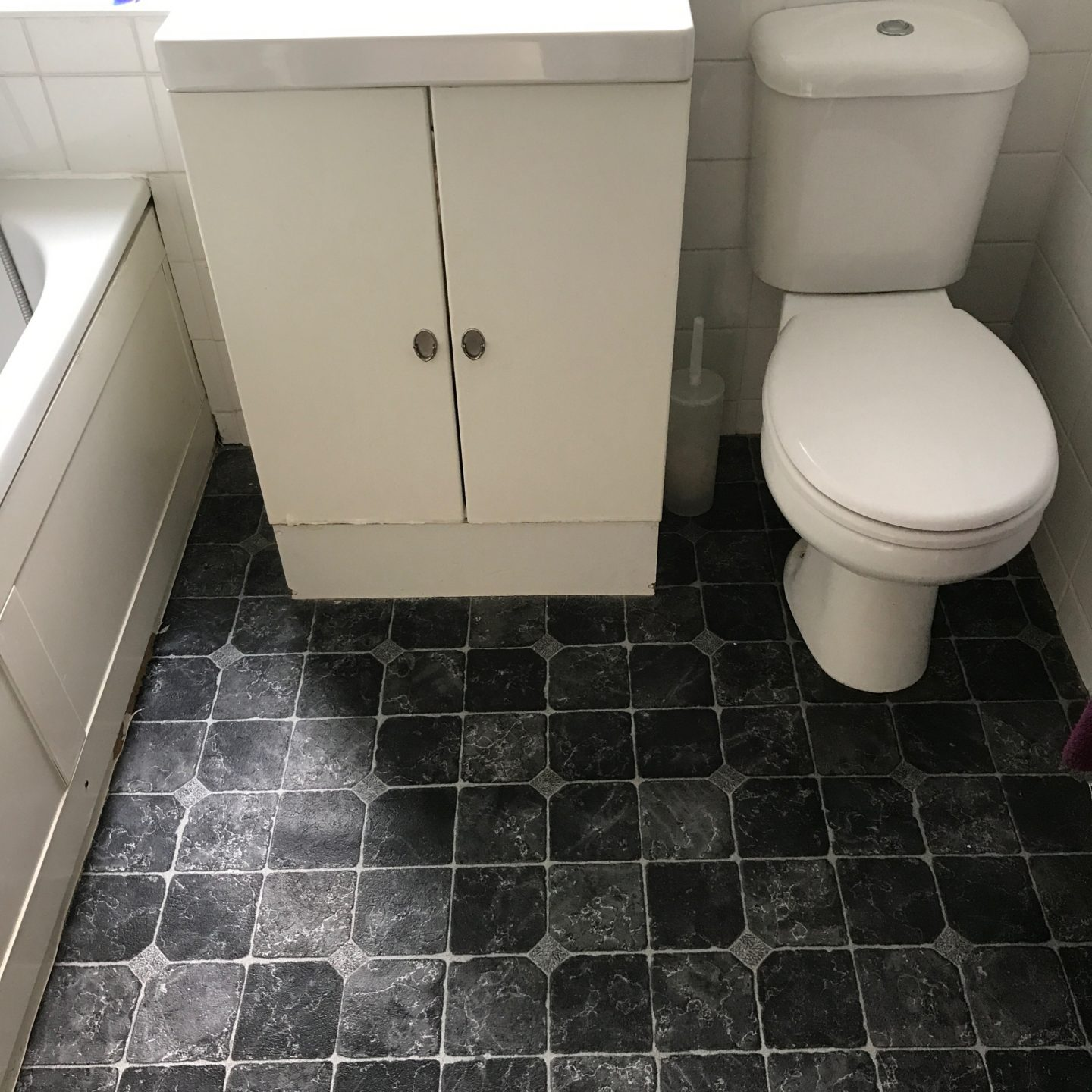 Monochrome Bathroom Makeover Before