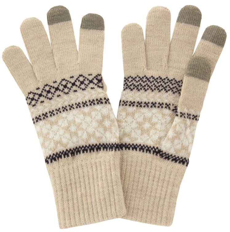 Muji Touch Screen Gloves Snow Pattern Oatmeal