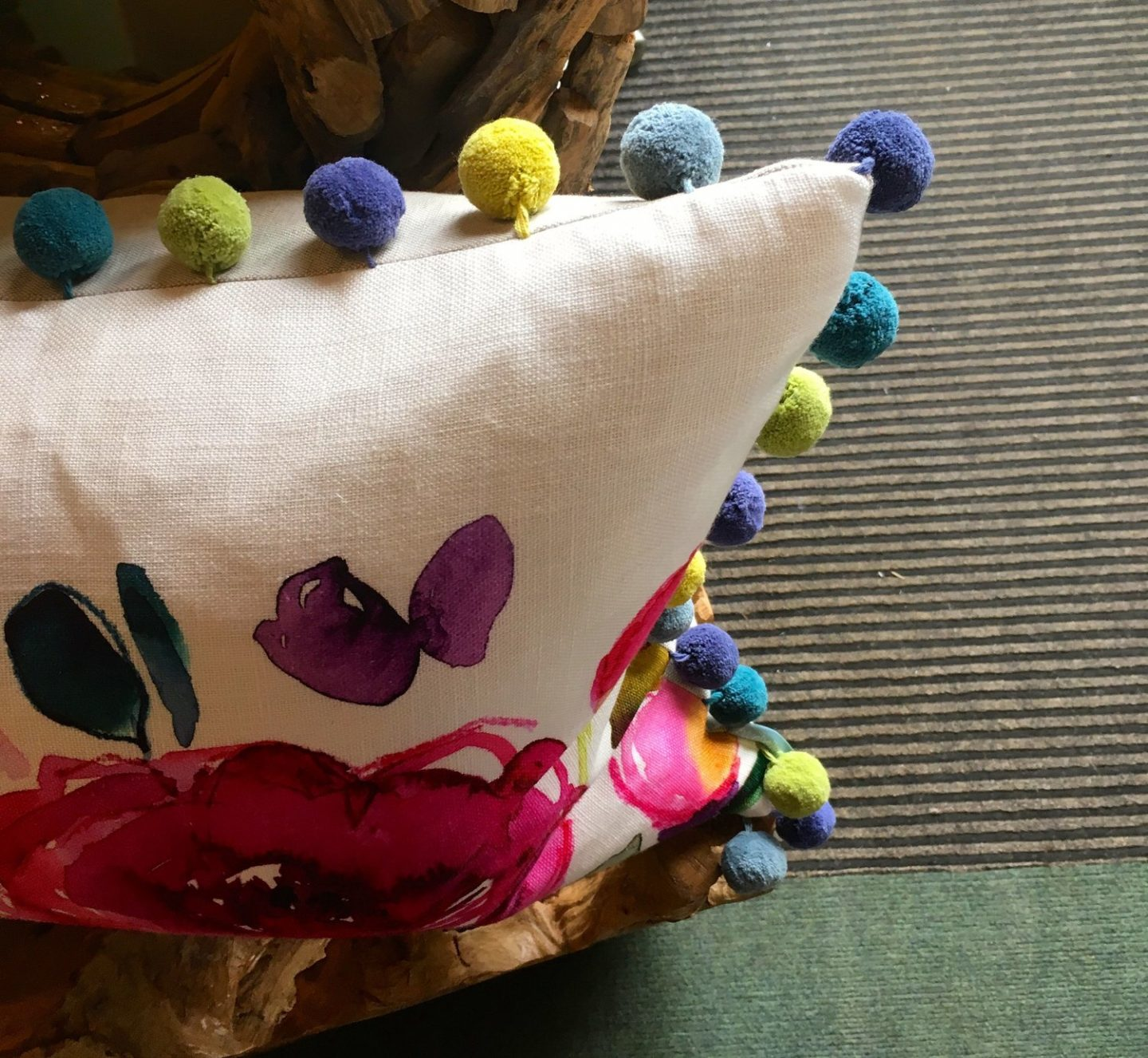 Life At 139a Unique PomPom cushion