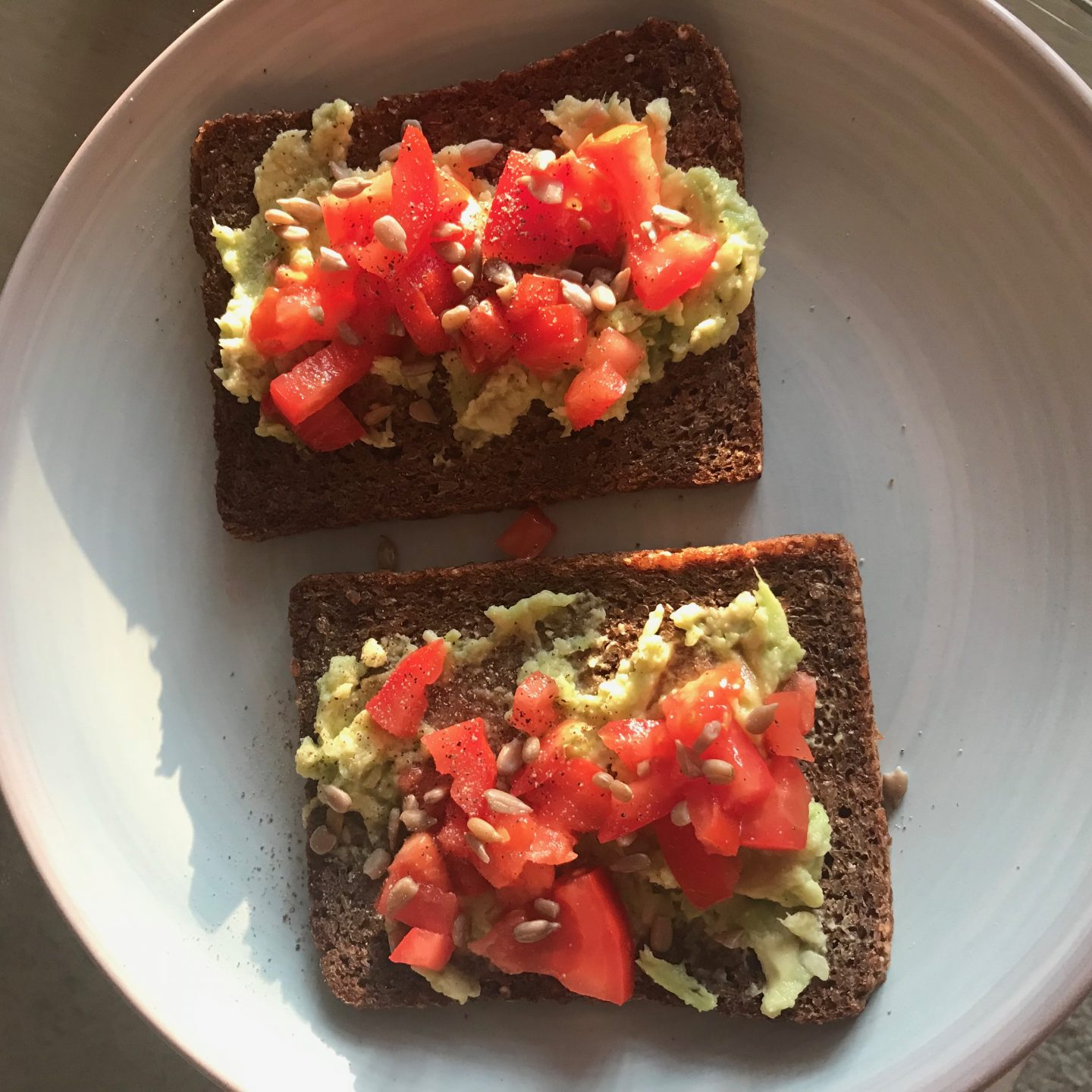 The Vegan Coach Avocado and Tomato Rye