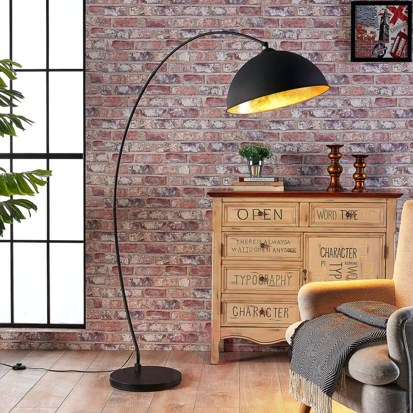 Lights.co.uk Jonera Curved Floor Lamp