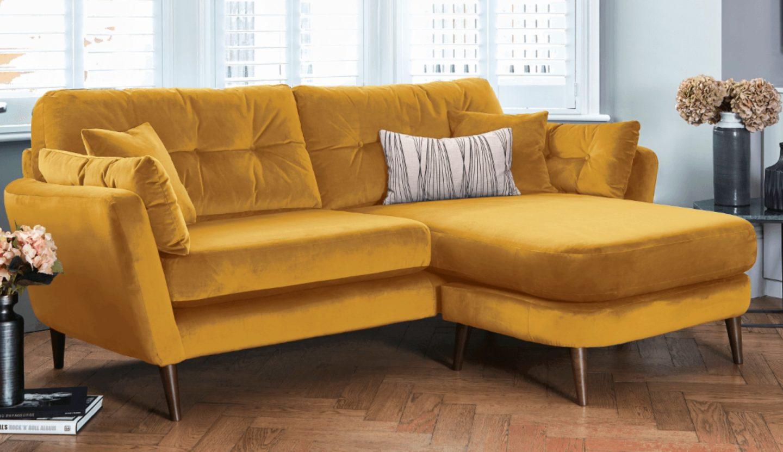 Darlings of Chelsea Sofas Studio Lounger Sofa Turmeric Velvet